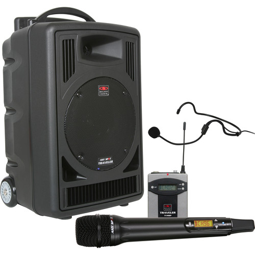 Galaxy Audio TV8 Traveler Series 120W PA System with CD Player, Dual UHF Receiver, Wireless Handheld Microphone, Bodypack Transmitter, and Headset Microphone