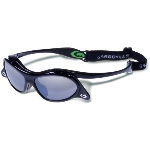 Gargoyles Gamer Sunglasses with Retainer Cord (Black Frame, Smoke/Silver Lenses)