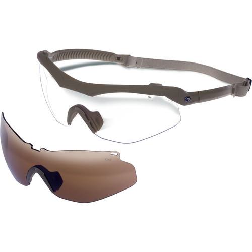 Gargoyles Trench Sunglasses with Head Strap (Matte Tan Frame, Amber Lens)