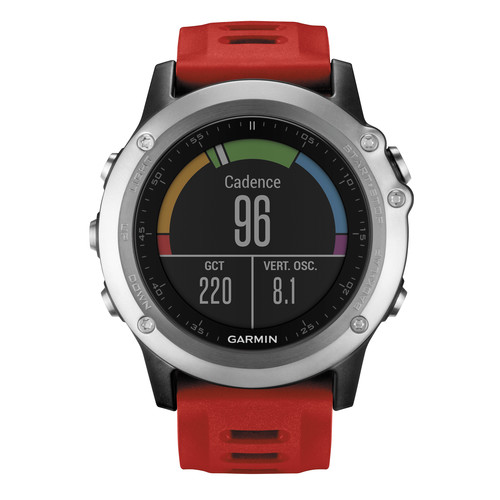 Garmin fenix 3 Multisport Training GPS Watch Performer Bundle (Silver with Red Band)