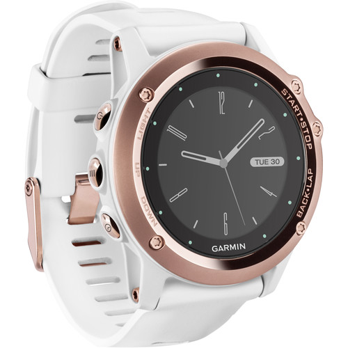 Garmin fenix 3 Sapphire Multisport Training GPS Watch (Rose Gold with White Band)