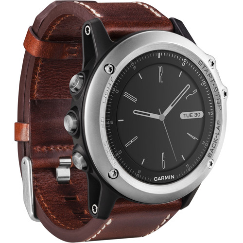 Garmin fenix 3 Sapphire Multisport Training GPS Watch (Silver with Leather Band)