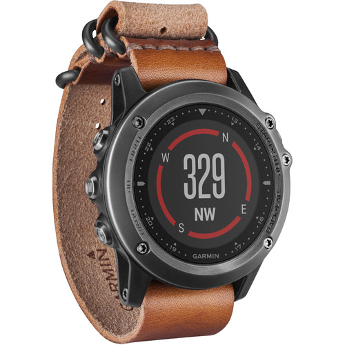 Garmin fenix 3 Sapphire Multisport Training GPS Watch (Gray with Leather Band)