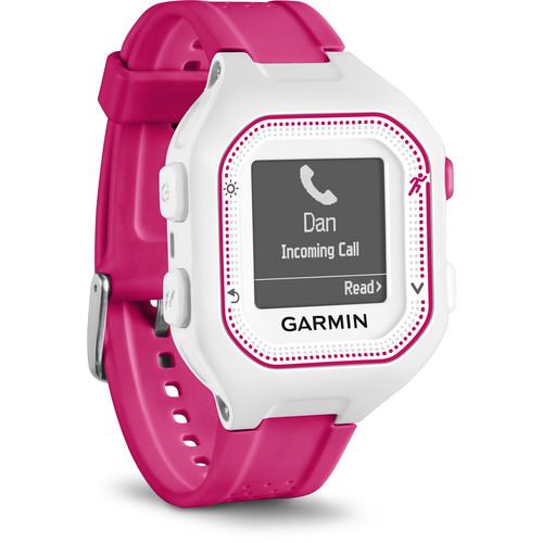 Garmin Forerunner 25 GPS Running Watch (Small, White/Pink)