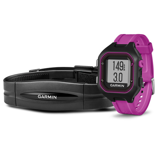 Garmin Forerunner 25 GPS Running Watch with Heart Rate Monitor (Small, Black/Purple)