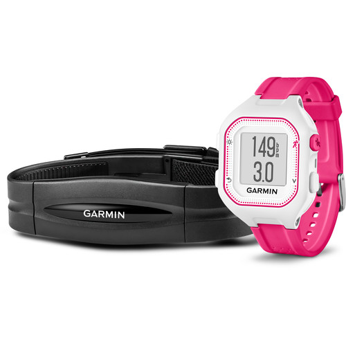 Garmin Forerunner 25 GPS Running Watch with Heart Rate Monitor (Small, White/Pink)