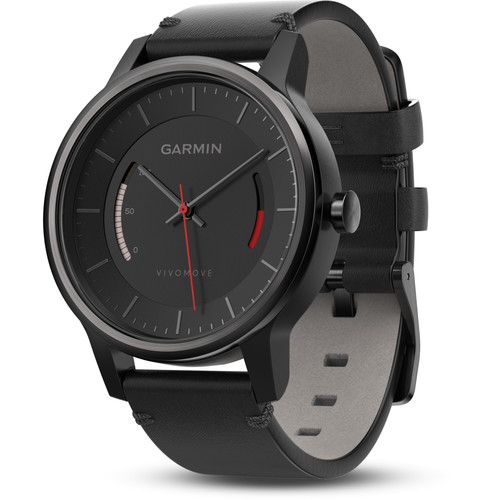 Garmin vivomove Classic Activity Tracking Watch (Black, Black Leather Band)