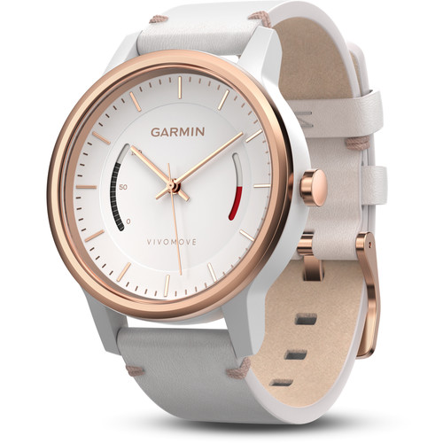 Garmin vivomove Classic Activity Tracking Watch (Rose Gold-Tone, White Leather Band)