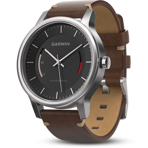 Garmin vivomove Premium Activity Tracking Watch (Stainless Steel, Brown Leather Band)
