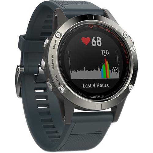 Garmin fenix 5 Multi-Sport Training GPS Watch (Silver, Granite Blue Band)