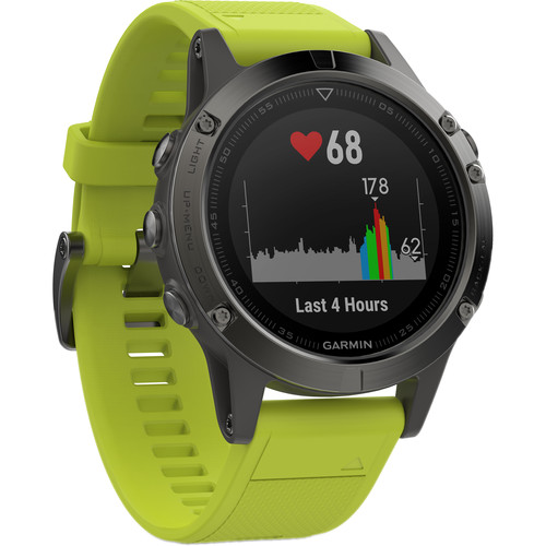 Garmin fenix 5 Multi-Sport Training GPS Watch (Slate Gray, Amp Yellow Band)