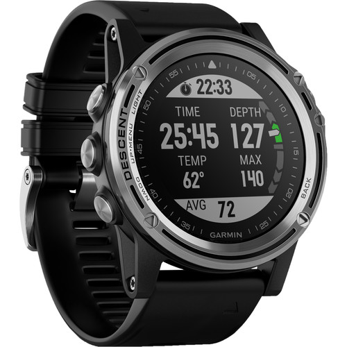 Garmin Descent Mk1 Dive Watch (Silver Sapphire with Black Band)