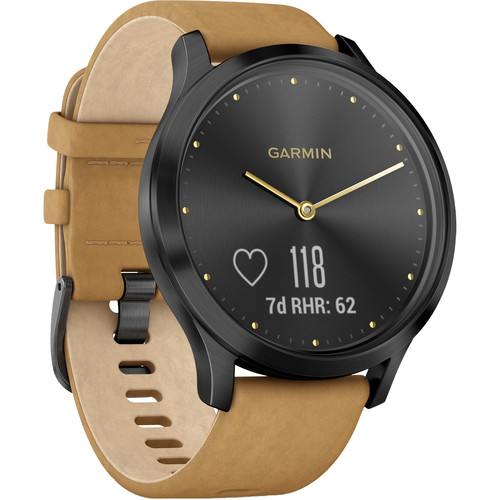 Garmin vivomove HR Premium Watch (One Size Fits Most, Onyx Black with Tan Suede Band)