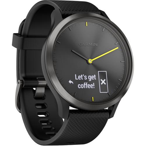 Garmin vivomove HR Sport Watch (Large, Black with Black Silicone Band)