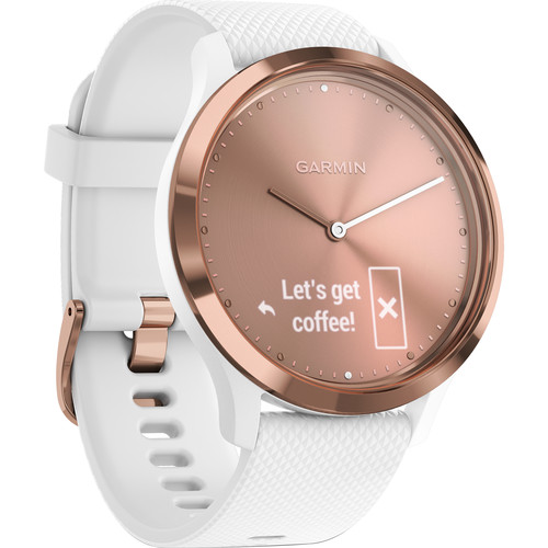 Garmin vivomove HR Sport Watch (Small/Medium, Rose Gold with White Silicone Band)