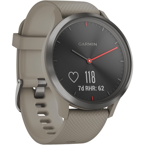 Garmin vivomove HR Sport Watch (One Size Fits Most, Slate/Sandstone with Sandstone Silicone Band)