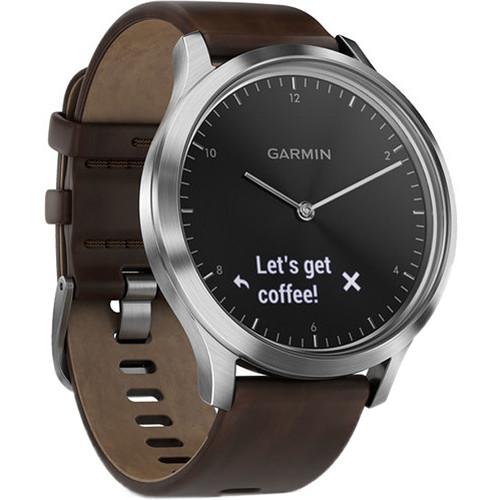 Garmin vivomove HR Premium Watch (Large, Silver with Dark Brown Leather Band)