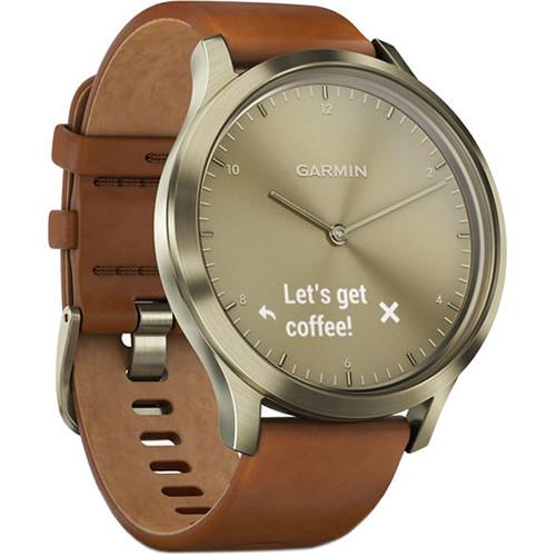 Garmin vivomove HR Premium Watch (Small/Medium, Gold with Light Brown Leather Band)