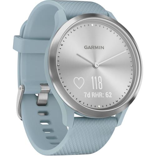 Garmin vivomove HR Sport Watch (Small/Medium, Silver/Sea Foam with Sea Foam Silicone Band)