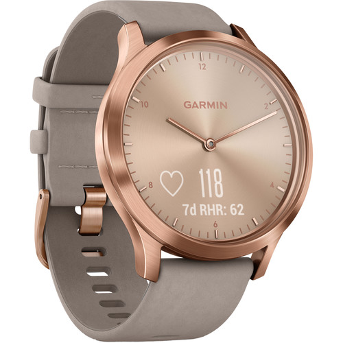 Garmin vivomove HR Premium Watch (One Size Fits Most, Rose Gold with Gray Suede Band)