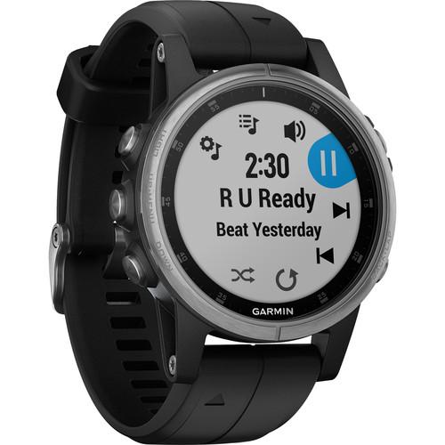 Garmin fenix 5S Plus Multi-Sport Training GPS Watch (42mm, Silver with Black Band)