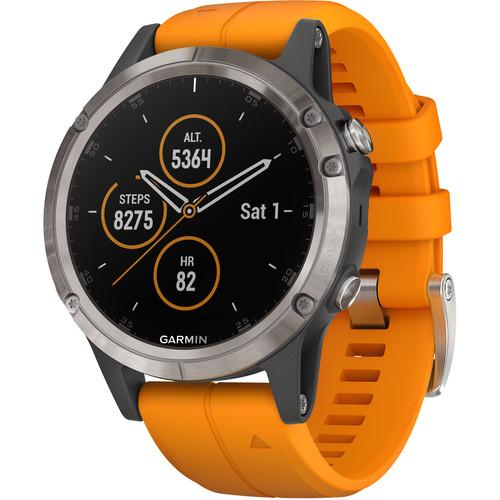Garmin fenix 5 Plus Sapphire Edition Multi-Sport Training GPS Watch (47mm, Titanium with Solar Flare Orange)
