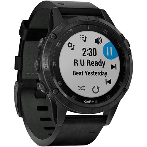 Garmin fenix 5 Plus Sapphire Edition Multi-Sport Training GPS Watch (47mm, Black with Black Leather Band)