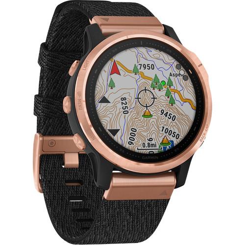 Garmin fenix 6S Multisport GPS Smartwatch (42mm, Sapphire, Rose Gold-Tone / Heathered Black Nylon Band)