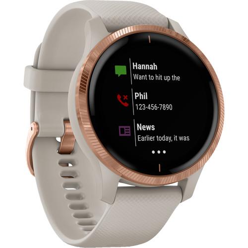 Garmin Venu Smartwatch (Rose Gold Stainless Steel Bezel, Light Sand Case, Silicone Band)