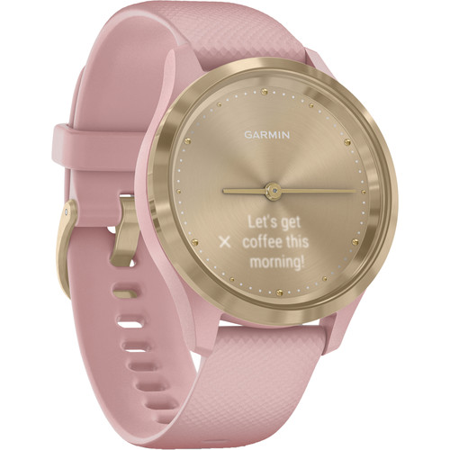 Garmin vivomove 3S Hybrid Smartwatch (39mm, Light Gold Stainless Steel Bezel/Dust Rose Case, Silicone Band)