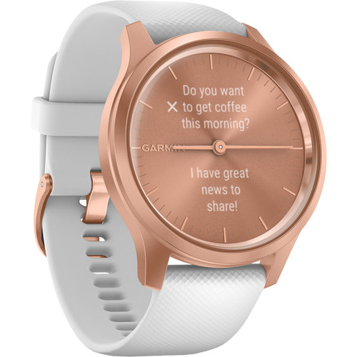 Garmin vivomove Style Hybrid Smartwatch (42mm, Rose Gold Aluminum Case, Silicone Band)