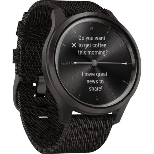 Garmin vivomove Style Hybrid Smartwatch (42mm, Graphite Aluminum Case, Woven Nylon Band)