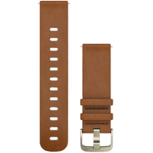 Garmin Quick-Release Leather Watch Band (20mm / Light Brown / Small/Medium)