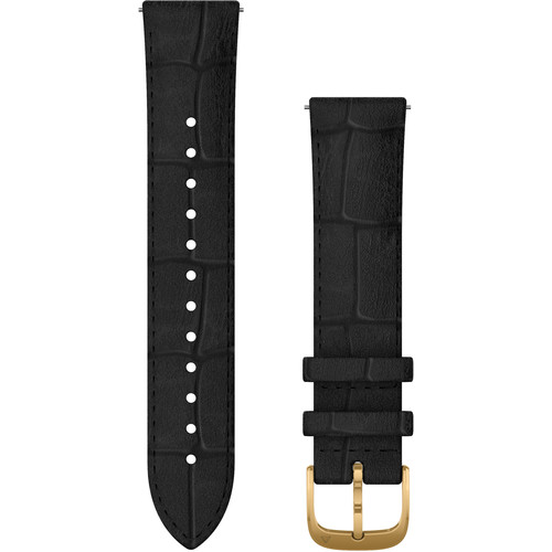 Garmin Quick Release Band (20mm, Black Embossed Italian Leather with 24K Gold PVD Hardware)