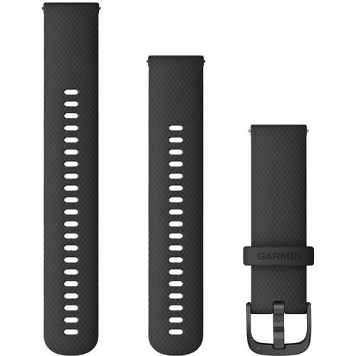 Garmin Quick Release Band (22mm, Black Silicone with Slate Hardware)