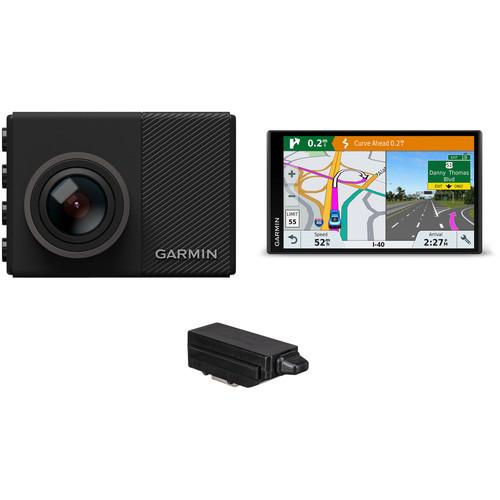 Garmin Dash Cam 65W with DriveSmart 61 LMT-S Navigation System Kit & Free Tracking Key 3 GPS Logger
