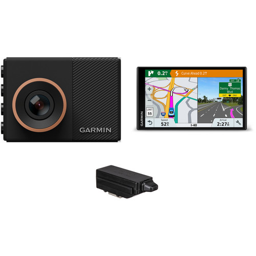 Garmin Dash Cam 55 with DriveSmart 61 LMT-S Navigation System Kit & Free Tracking Key 3 GPS Logger