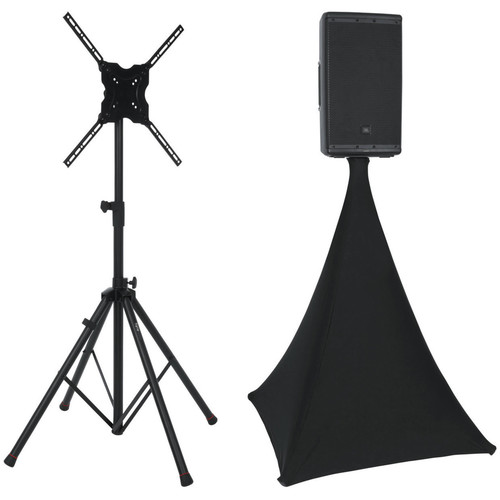 Gator Cases Deluxe Quadpod A/V Stand Kit with Scrim Cover (Black)