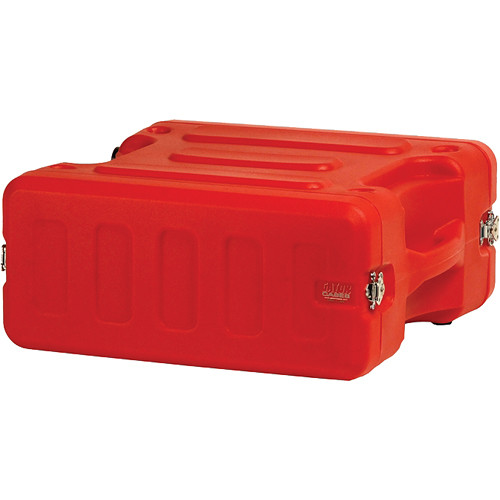 "Gator Cases 4U 19"" Deep Pro-Series Molded Mil-Grade Polyethylene Audio Rack Case (Red)"