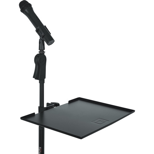 Gator Cases Frameworks Large Microphone Stand Clamp-On Utility Shelf, Capacity to 10Lbs.