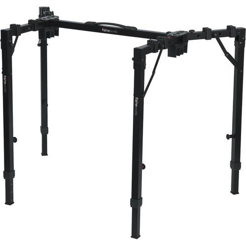 Gator Cases Frameworks Adjustable T-Stand Folding Workstation for Keyboards & Audio Equipment