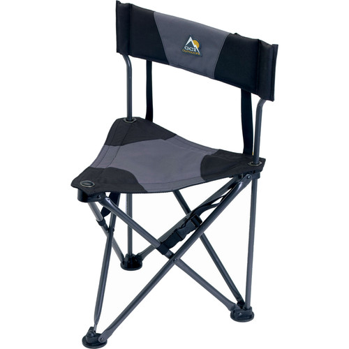 GCI Outdoor Quik-E-Seat Stool with Padded Backrest (Black)