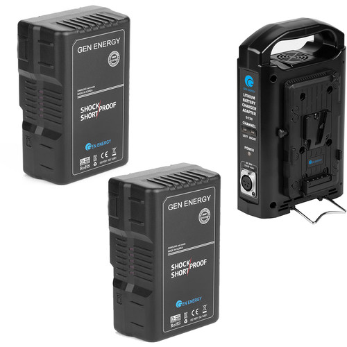 GEN ENERGY 2X 160Wh V-Mount Battery W/ 2 Channel Charger,    16.8V  /  2.5A