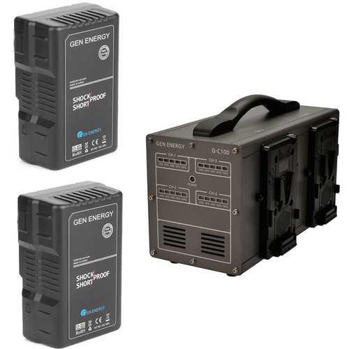 GEN ENERGY 2X 195Wh V-Mount Battery W/ G-C100 Four Channel Charger, 16.8V  /  6A