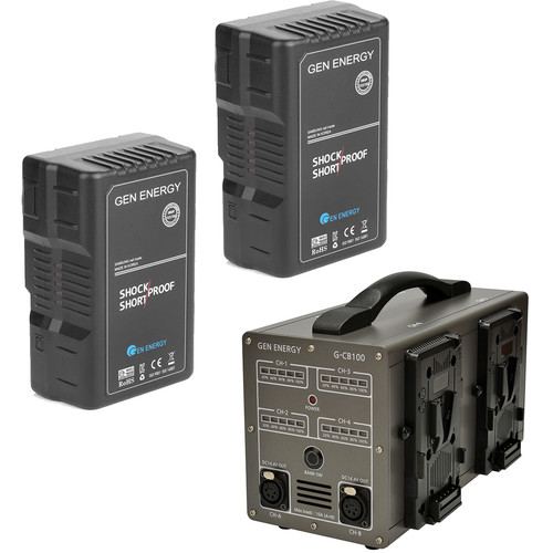 GEN ENERGY 2X 195Wh V-Mount Battery W/ G-CB100 Four Channel Charger, 16.8V  /  6A
