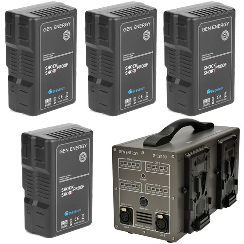 GEN ENERGY 4X 195Wh V-Mount Battery W/ G-CB100 Four Channel Charger, 16.8V  /  6A