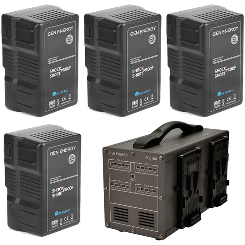 GEN ENERGY 4X 290Wh V-Mount Battery W/ G-C100 Four Channel Charger, 16.8V  /  6A