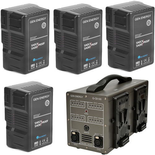 GEN ENERGY 4X 290Wh V-Mount Battery W/ G-CB100 Four Channel Charger, 16.8V  /  6A