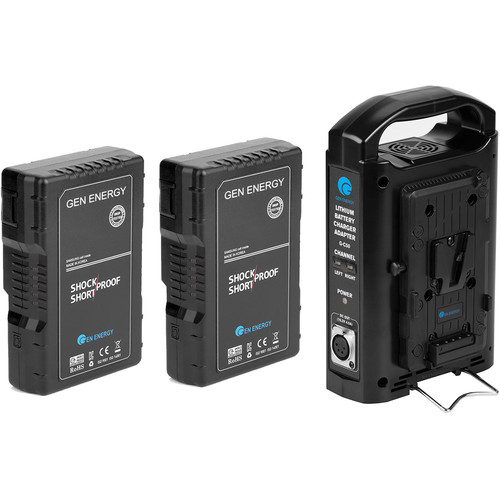 GEN ENERGY 2X 98Wh V-Mount Battery W/ 2 Channel Charger,    16.8V  /  2.5A