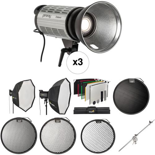 Genaray 3-Light LED Studio Product Kit